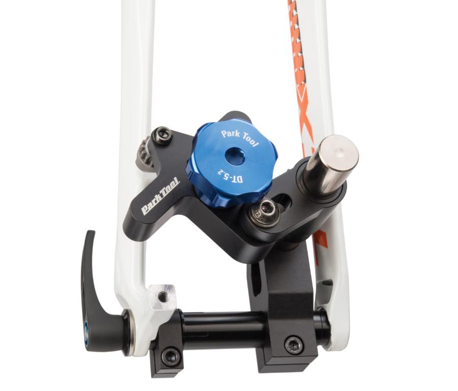 Park Tool DT-5.2 Disc Brake Mount Facing Set installed on thru axle facing post mount brake tab, enlarged