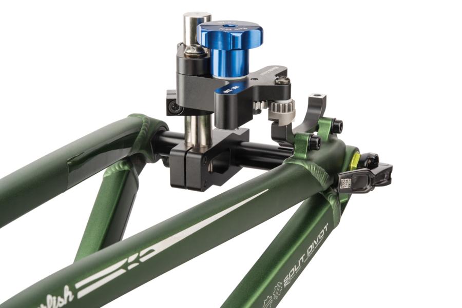 Park Tool DT-5.2 Disc Brake Mount Facing Set facing post mount adaptor on rear of thru axle bike, enlarged