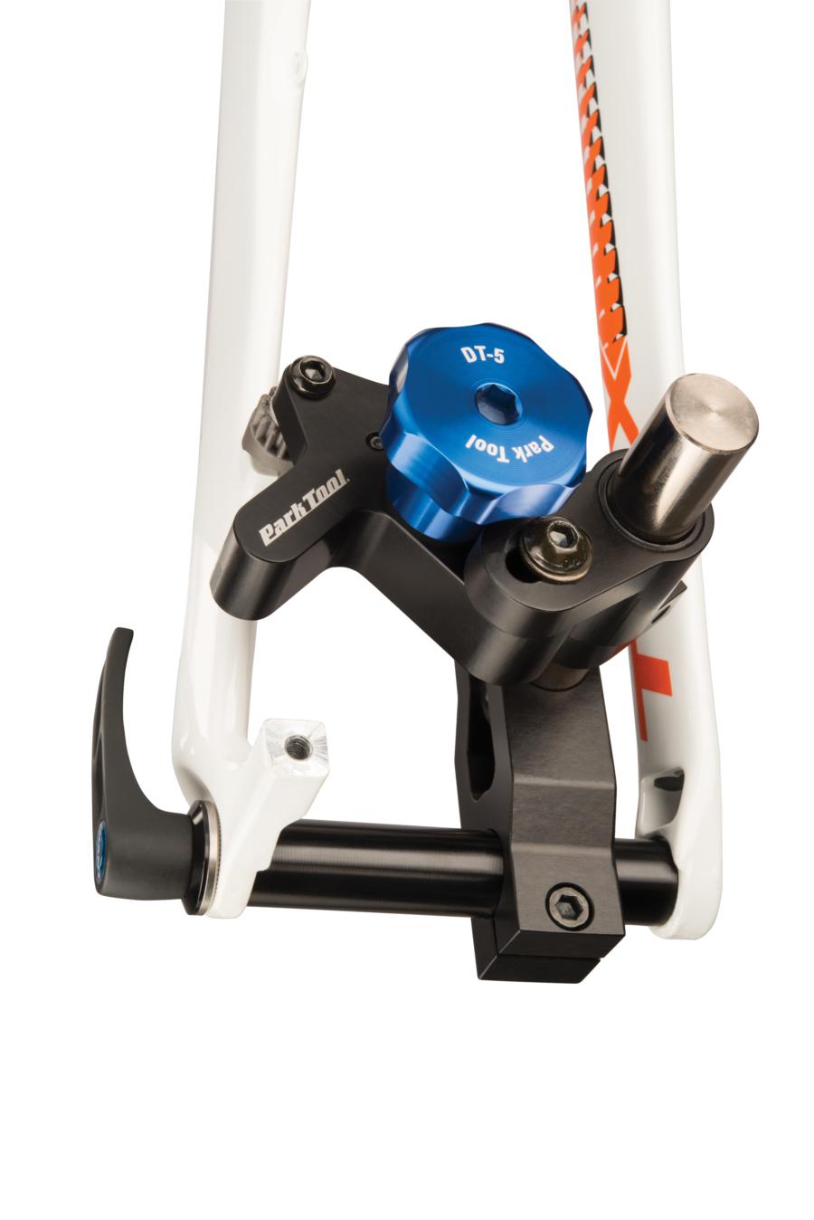 Park Tool DT-5 Disc Brake Mount Facing Set installed on thru axle facing post mount brake tab, enlarged
