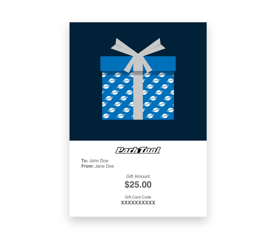 Gift card purchase for parktool.com under a gift wrapped in blue Park Tool wrapping paper, enlarged