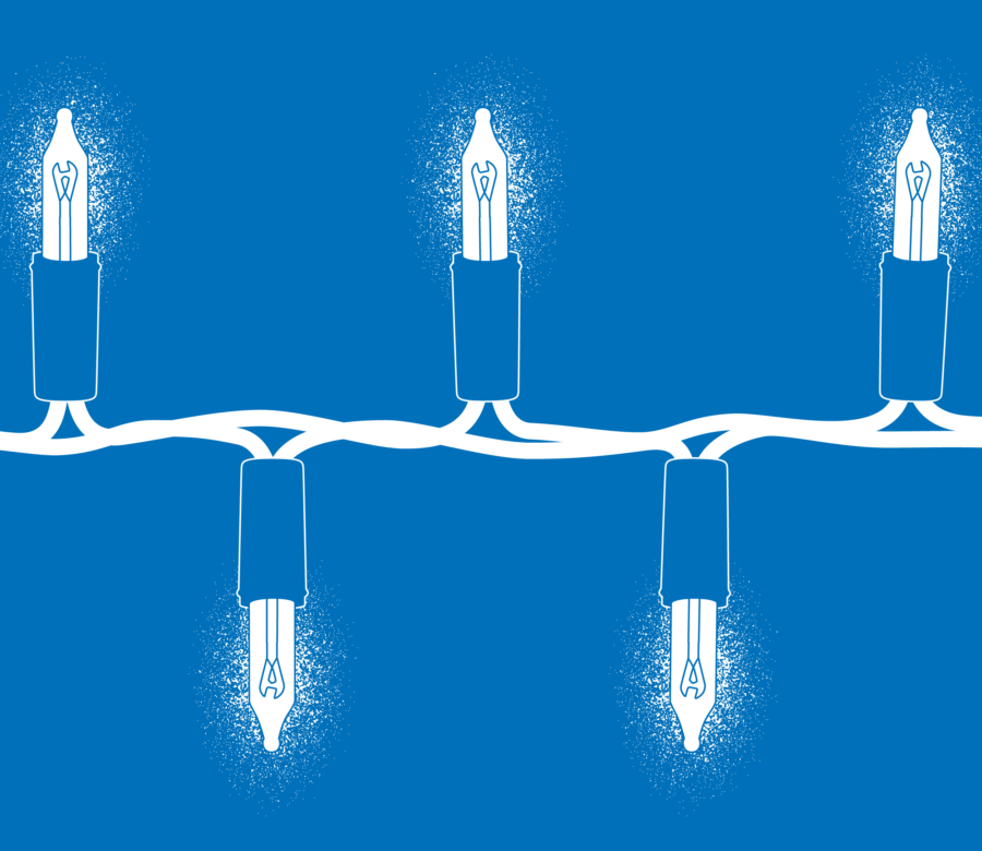 Illustration of five bulbs of blue Christmas lights on a blue background, enlarged