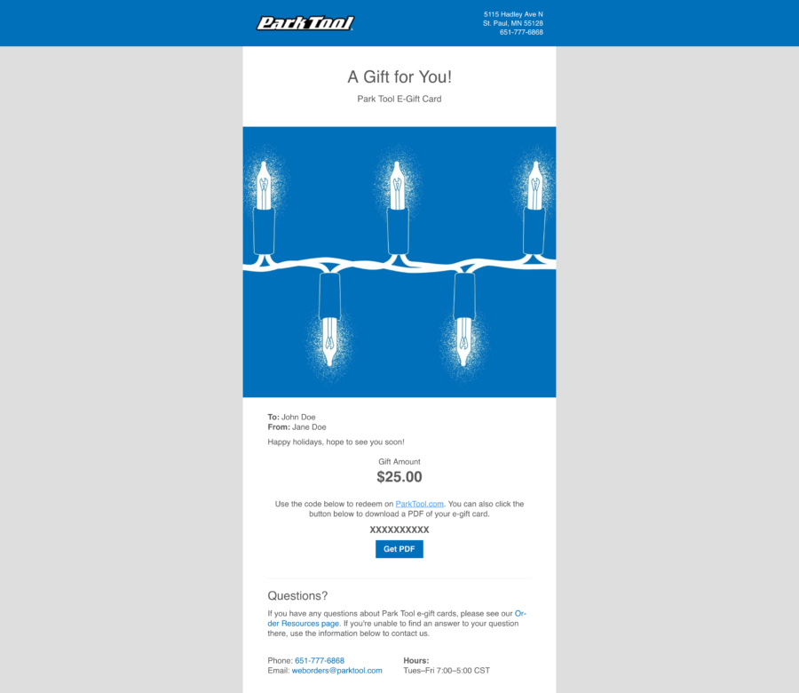 Email with a Gift card for parktool.com under an illustration of blue Christmas lights on a blue background, enlarged