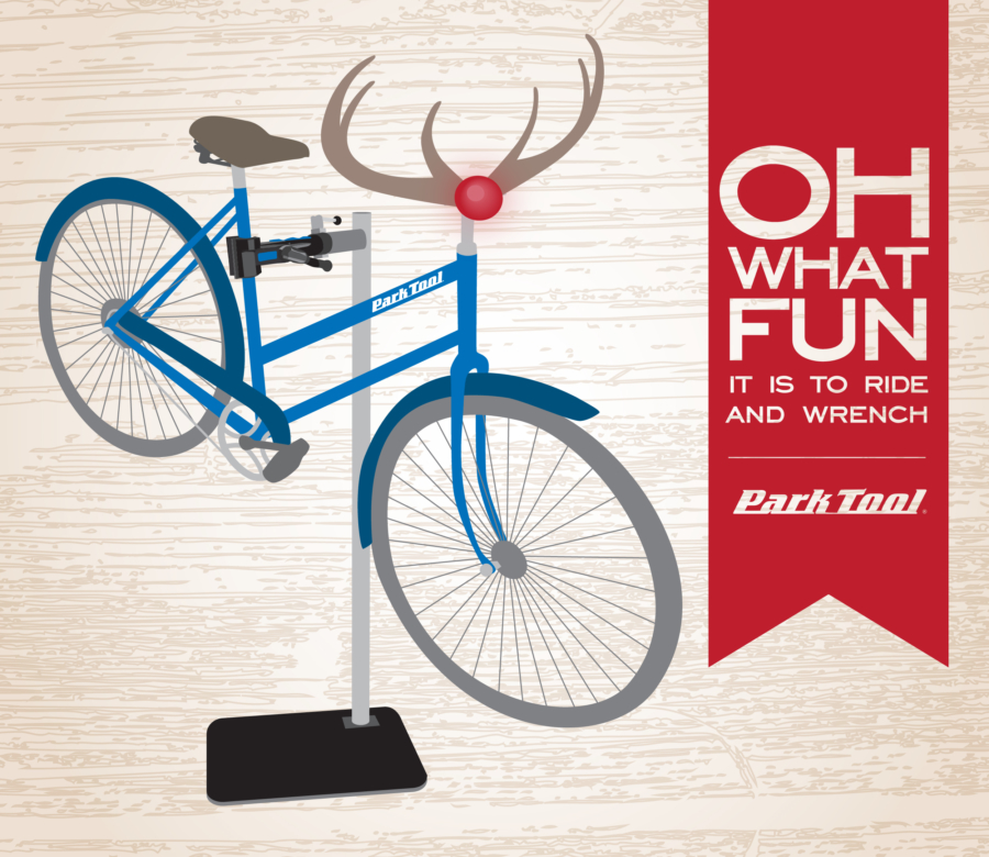 Illustration of a bike dressed as Rudolf on a Park Tool repair stand with Christmas song with a bike twist, enlarged