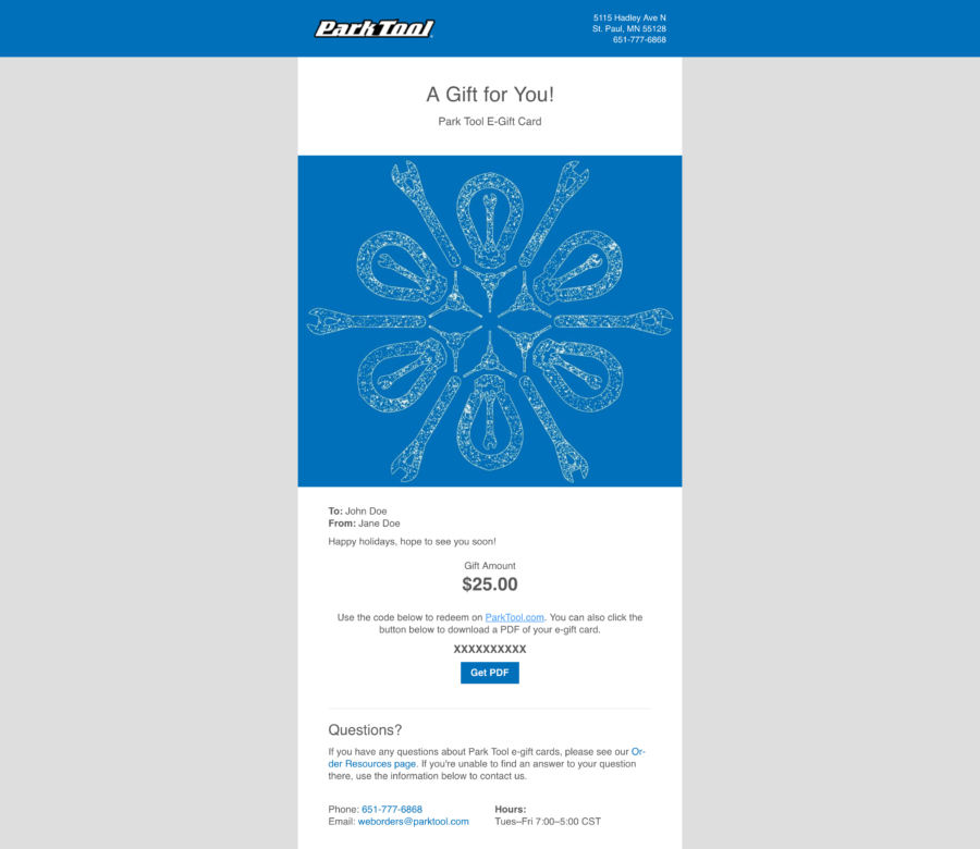 Email containing a gift card for parktool.com under a kaleidoscope pattern of bike tools, enlarged