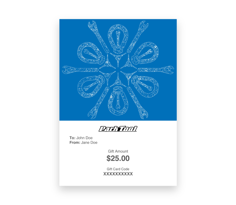 Gift card purchase for parktool.com under a kaleidoscope pattern of bike tools, enlarged