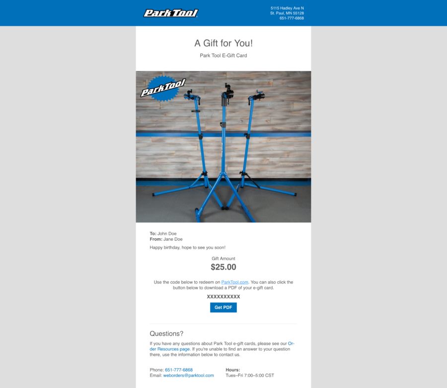 Email containing a gift card for parktool.com under a photo of three Park Tool repair stands, enlarged