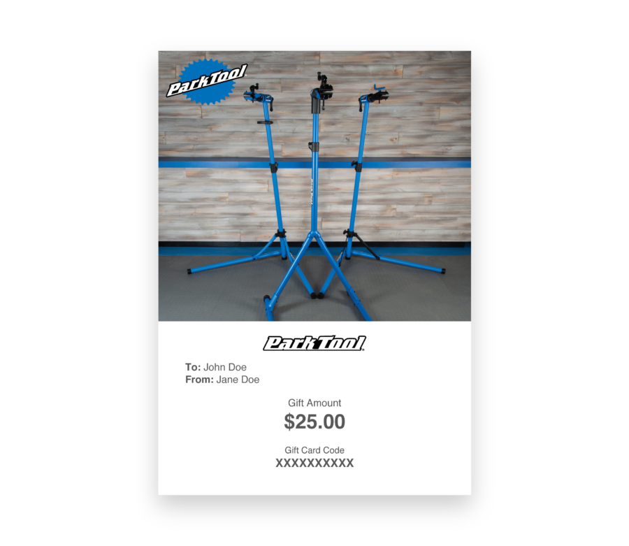 Gift card purchase for parktool.com under a photo of three Park Tool repair stands, enlarged