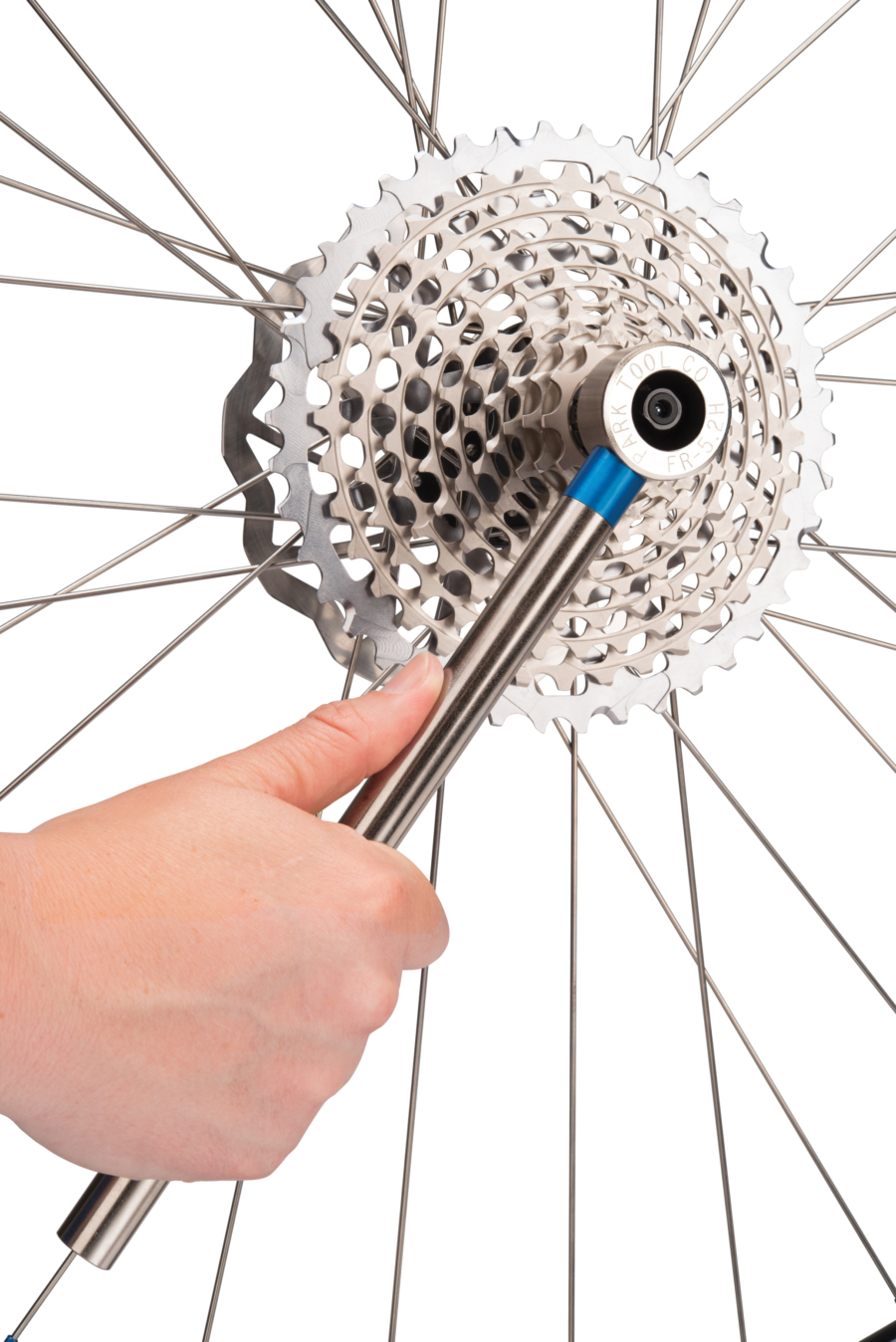 The Park Tool FR 5.2H Cassette Lockring Tool with Handle tightening SRAM® XD™ style rear cassette, enlarged