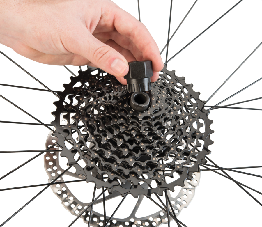 The Park Tool FR-5.2 Cassette Lockring Tool being installed on SRAM® XD™ style rear cassette, enlarged