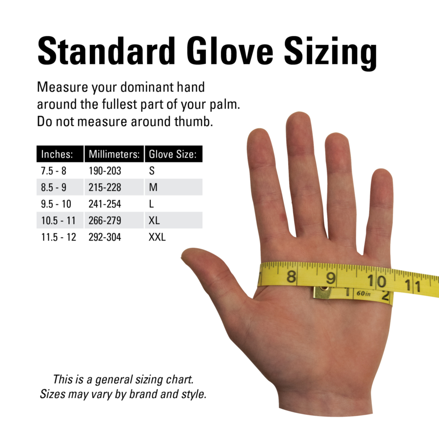 The Park Tool GLV-1 Mechanic's Gloves size guide, enlarged