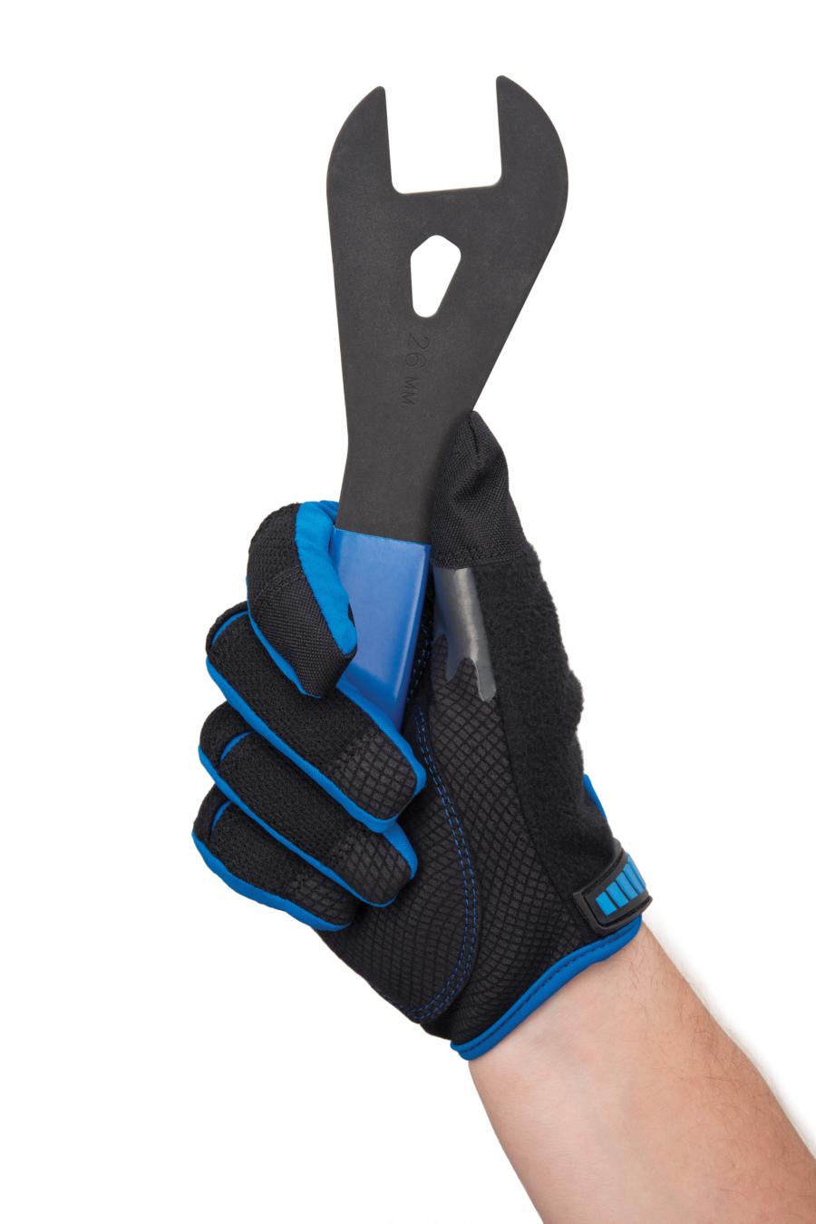 The Park Tool GLV-1 Mechanic's Gloves on hand gripping Park Tool cone wrench, enlarged