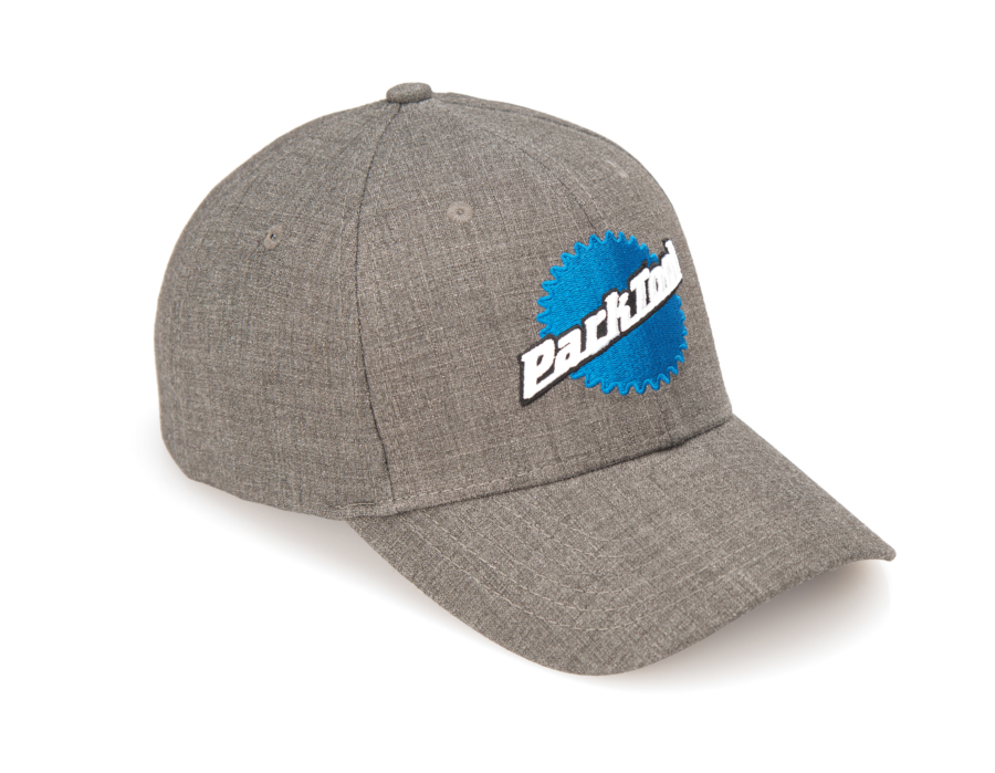 Gray Park Tool hat with stacked logo on front, enlarged