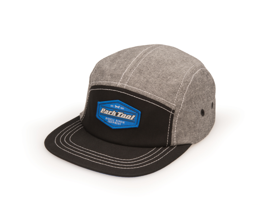 Black and gray five panel Park Tool logo hat, enlarged