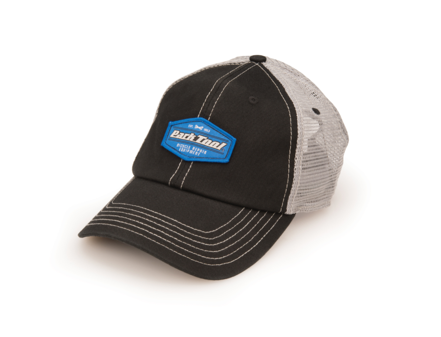 Black and gray mesh back cap with Park Tool logo on front, enlarged