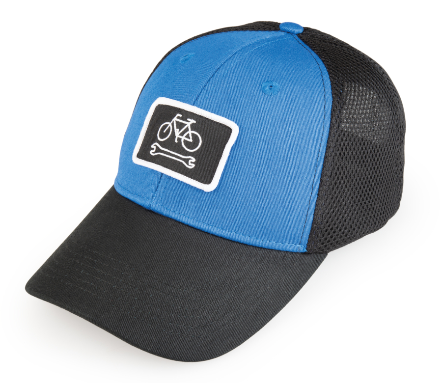 Front of HAT-7 Mesh Back Ball Cap with bike and wrench patch, enlarged