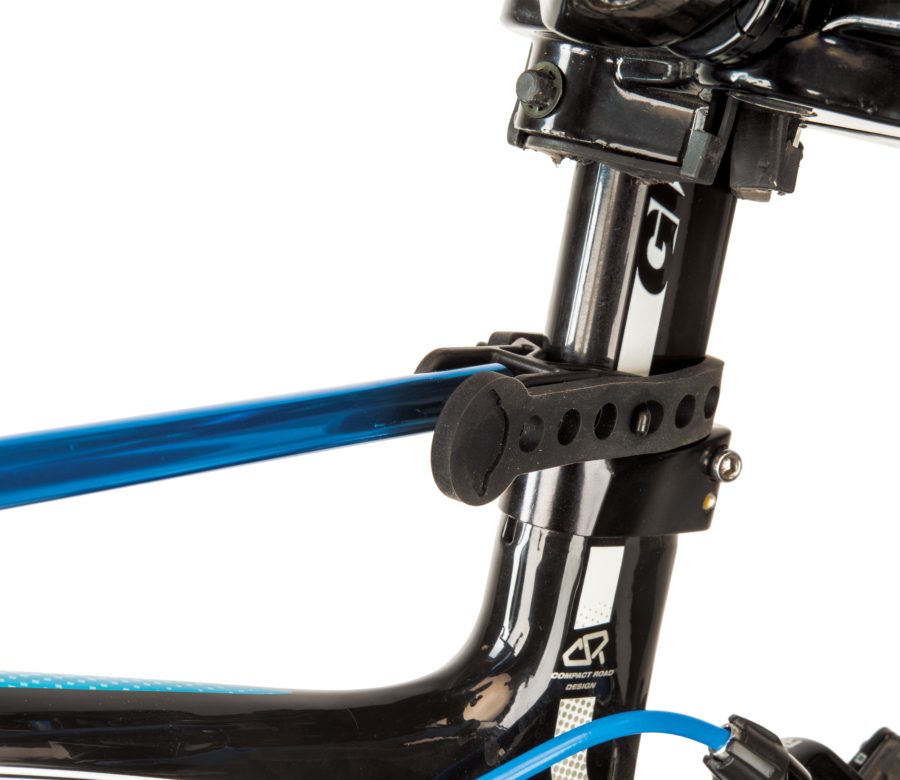 Close-up of Park Tool HBH-3 Extendable Handlebar Holder adjustable strap secured to road bike aero seat post, enlarged
