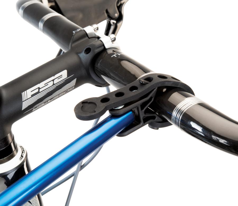 Close-up of Park Tool HBH-3 Extendable Handlebar Holder adjustable strap secured to road bike aero handlebars, enlarged