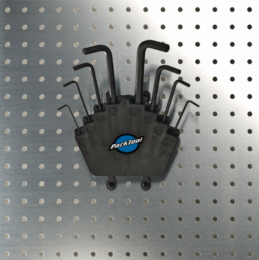 Park Tool HXS-2.2 Professional L-Shaped Hex Wrench Set on pegboard, enlarged