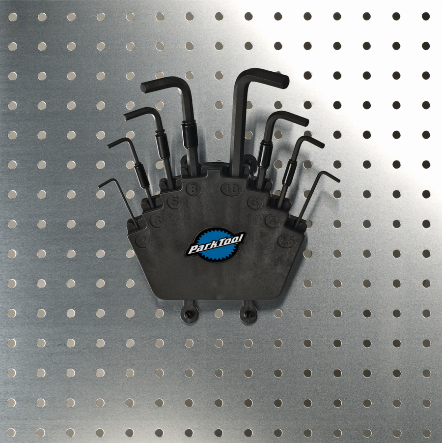 Park Tool HXS-2 L-Shaped Hex Wrench Set with Holder on pegboard, enlarged