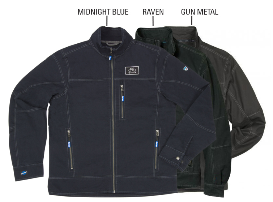 Flat lay of the three color options for JKT-2, enlarged