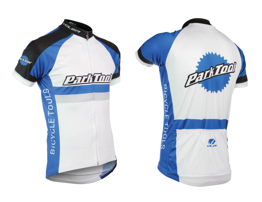 Front and back of Park Tool male racing jersey, enlarged