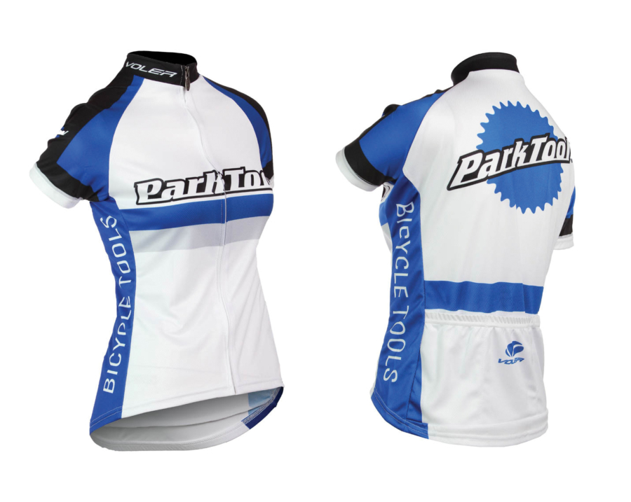 Front and back of Park Tool women's racing jersey, enlarged