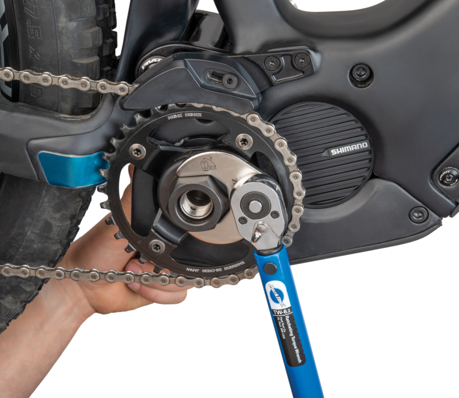 Park Tool LRT-2 Lockring Tool — Shimano® STEPS® being tightened with TWB-36 and TW-6.2, enlarged