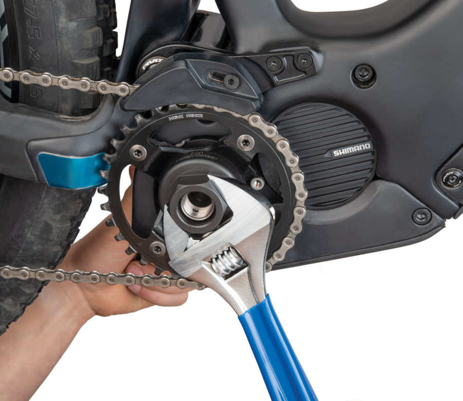Park Tool LRT-2 Lockring Tool — Shimano® STEPS® being tightened with PAW-12, enlarged