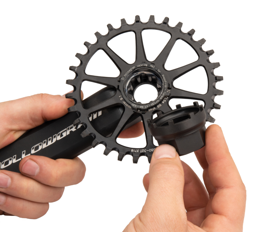 Park Tool LRT-3 Lockring Tool shown near a Cannondale® 4-notch lockring, enlarged