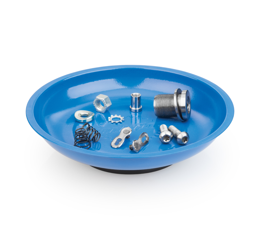 The Park Tool MB-1 Magnetic Parts Bowl holding parts, enlarged