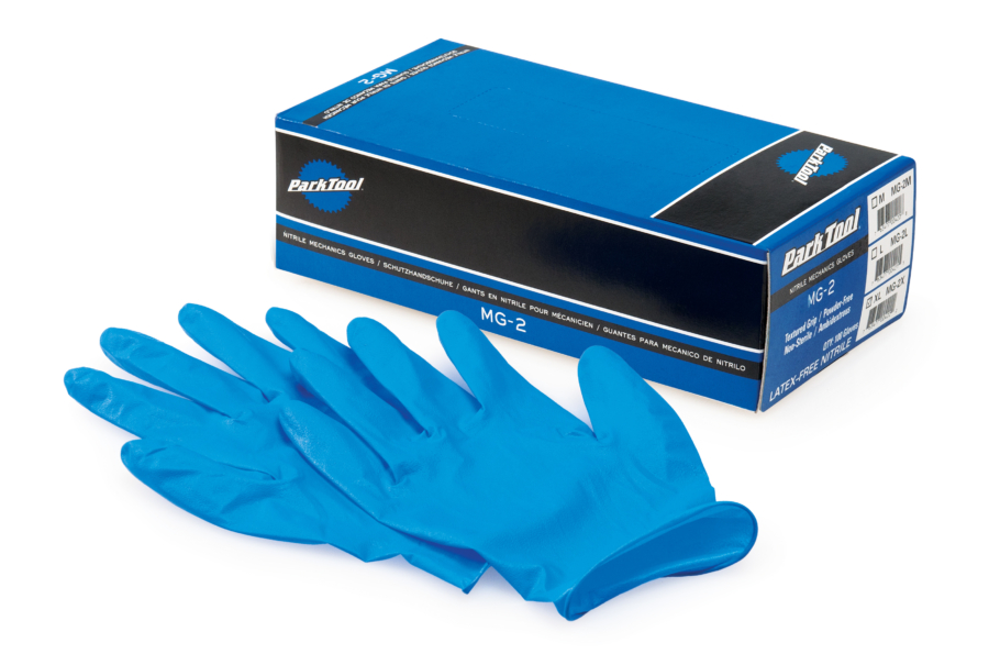 The Park Tool MG-2, Nitrile Mechanic's Gloves next to box, enlarged