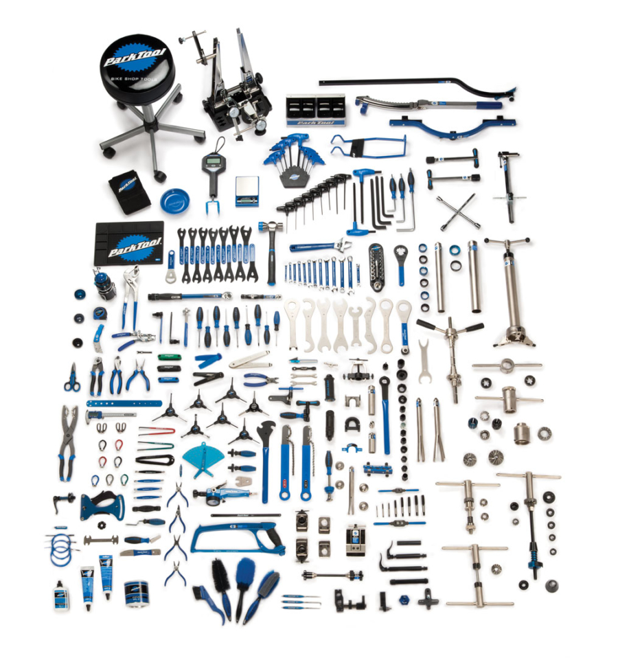 Contents in the MK-246 Park Tool Master Tool Kit, enlarged