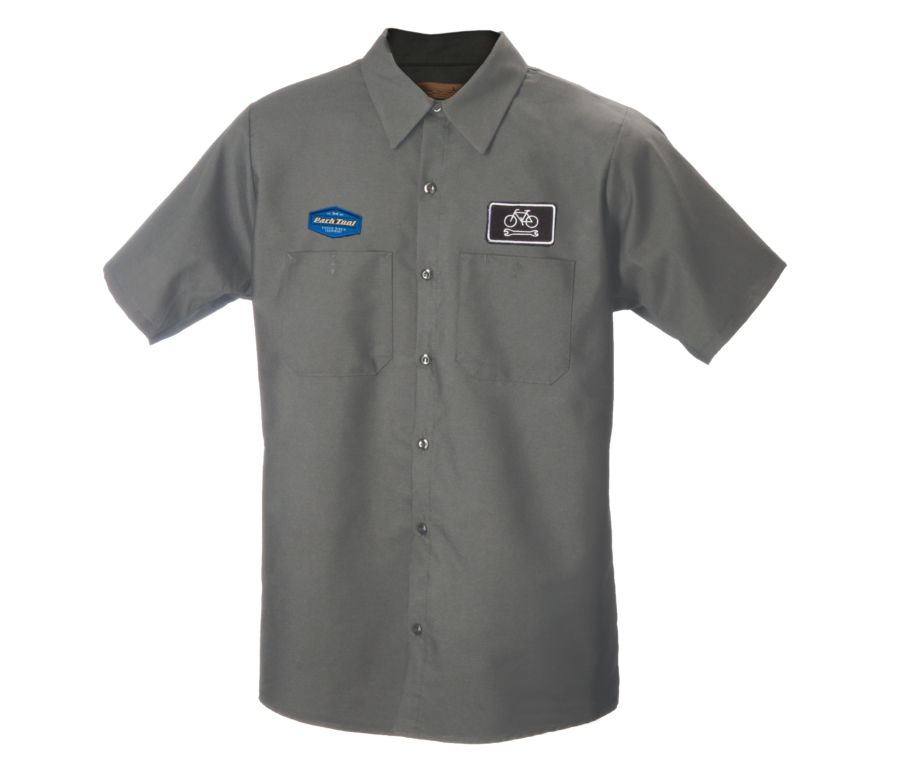 Gray collared button up mechanics with two different Park Tool Logo on each chest, enlarged