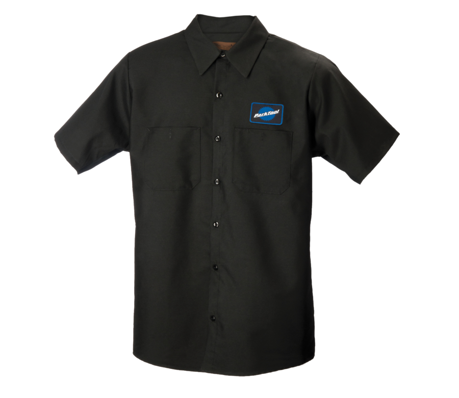 Black collared button up mechanics with Park Tool Logo on chest, enlarged