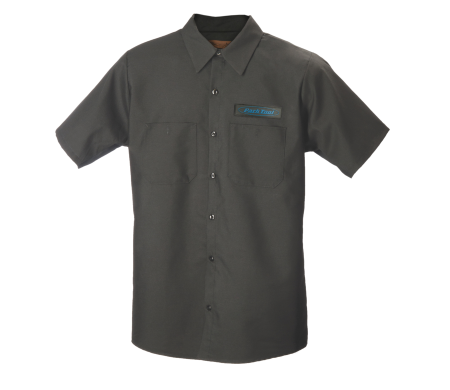 Dark gray collared button up mechanics with Park Tool Logo on chest, enlarged
