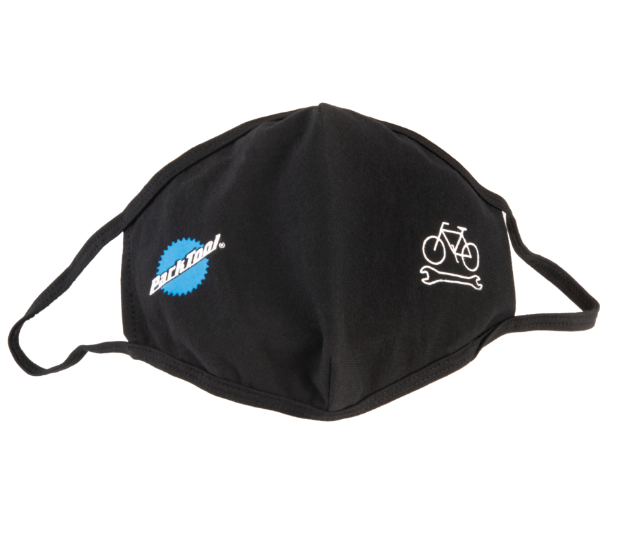 Park Tool MSK-1 Face Mask in black with stacked logo and bike wrench graphic, enlarged