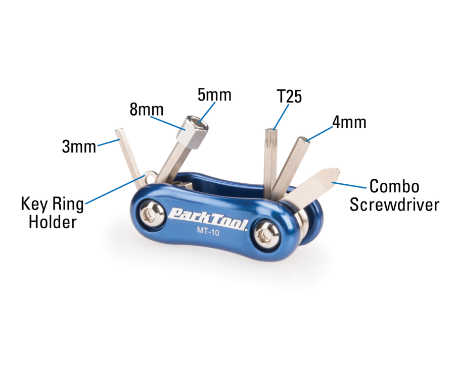 The Park Tool MT-10, Multi-Tool labels, enlarged