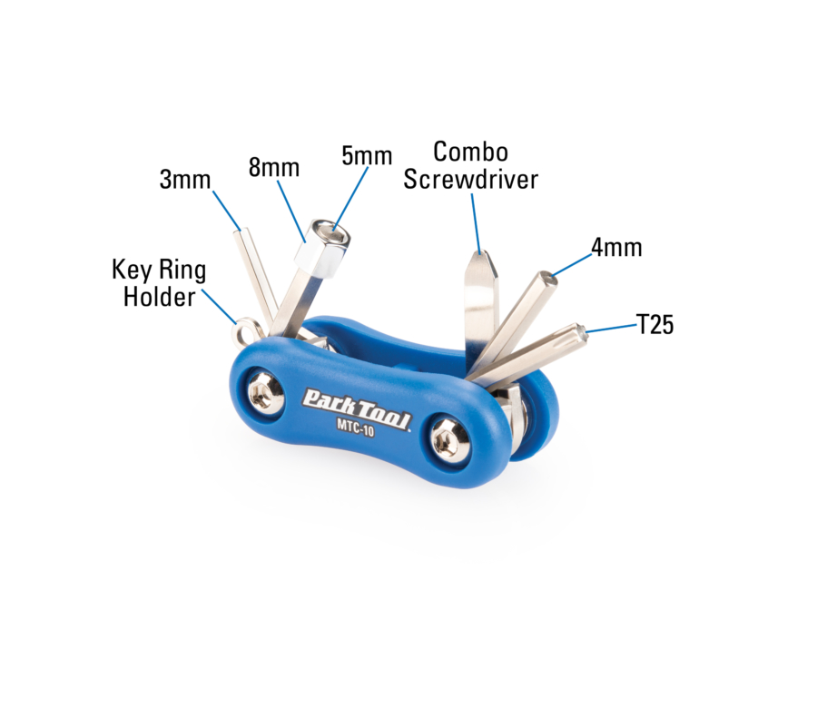 Diagram of contents in the Park Tool MTC-10 Multi-Tool, enlarged