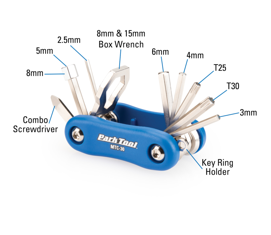 Diagram of contents in the Park Tool MTC-30, Multitool, enlarged