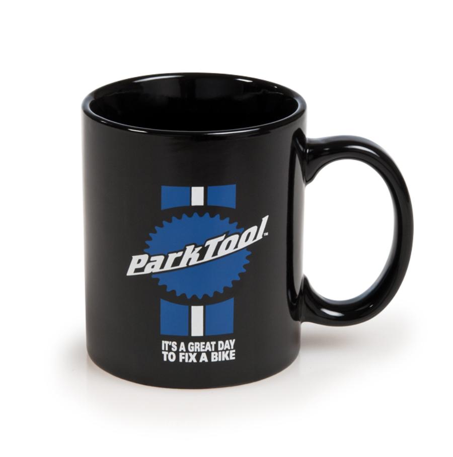 Front of the Park Tool MUG-1, black mug with stacked logo, stripes and slogan, enlarged