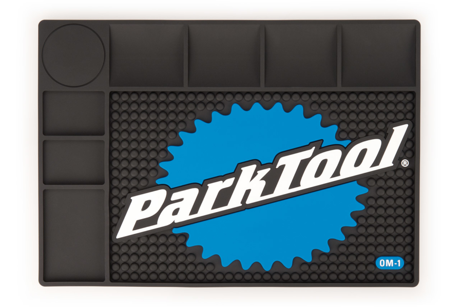 The Park Tool OM-1 Benchtop Overhaul Mat from above, enlarged