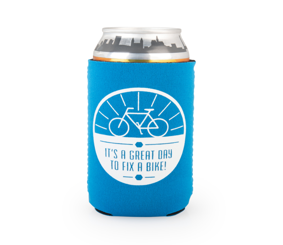 "Backside of the Park Tool can cooler on a can with the words ""It's a great day to fix a bike"", enlarged"