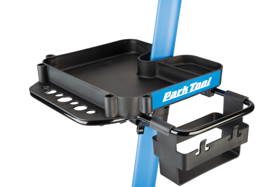 Close up the Park Tool work Tray on PCS-10.2, Deluxe Home Mechanic Repair Stand, enlarged