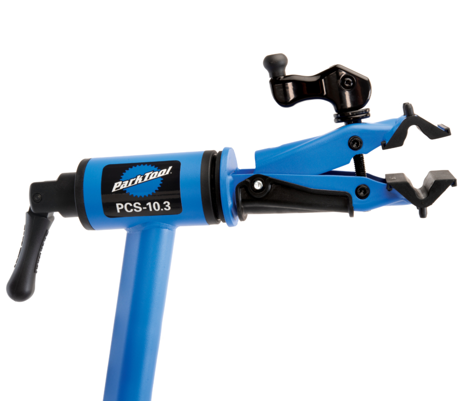 Closeup of the Park Tool PCS-10.3 Deluxe Home Mechanic Repair Stand clamp, enlarged