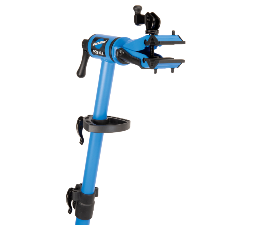 The Park Tool PCS-10.3 Deluxe Home Mechanic Repair Stand top tube with work tray installed, enlarged