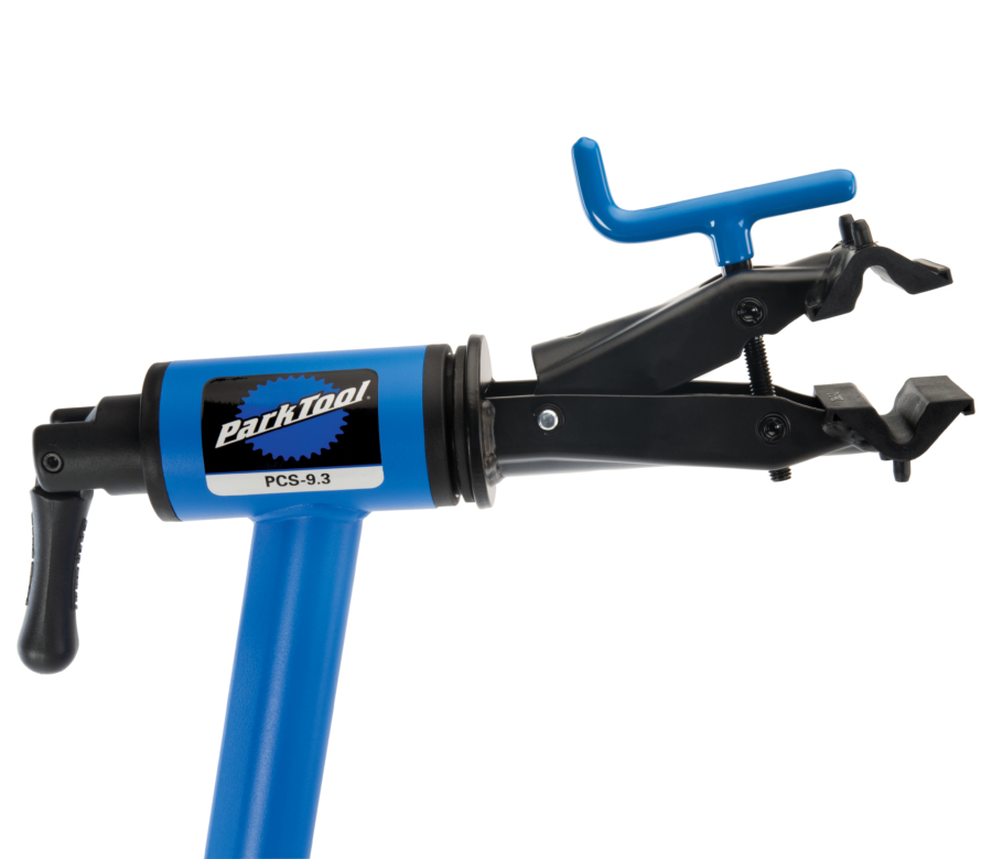 Closeup of the Park Tool PCS-9.3 Home Mechanic Repair Stand clamp, enlarged