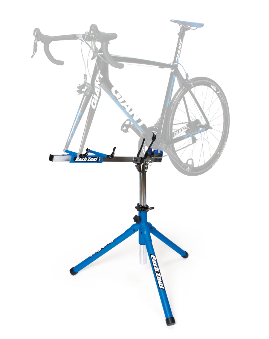 The Park Tool PRS-20 Team Race Stand with bike with no front wheel mounted, enlarged