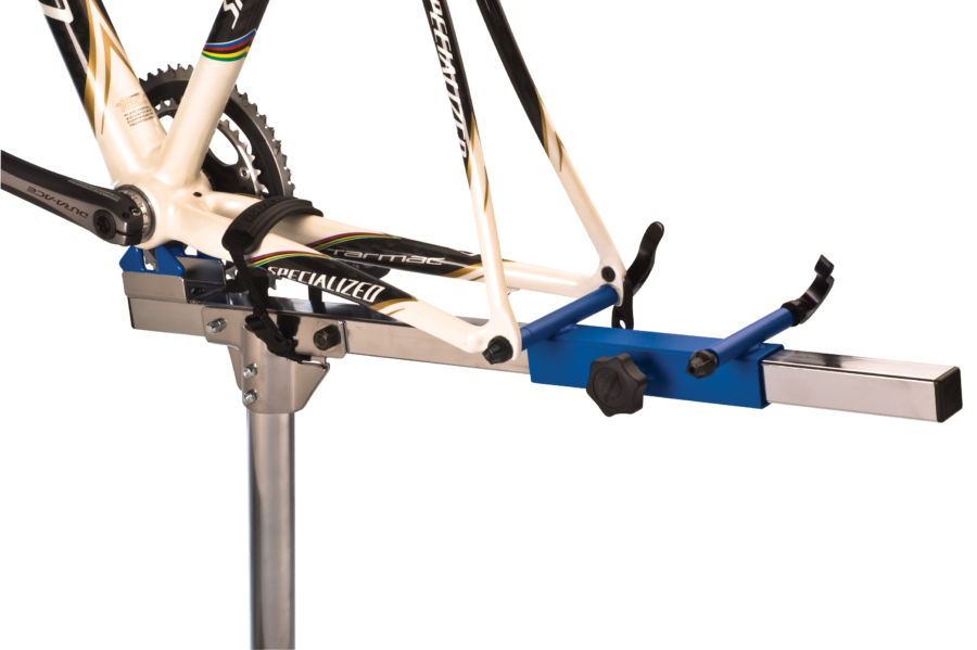 Close-up of the Park Tool PRS-20 Team Race Stand with bike frame mounted, enlarged