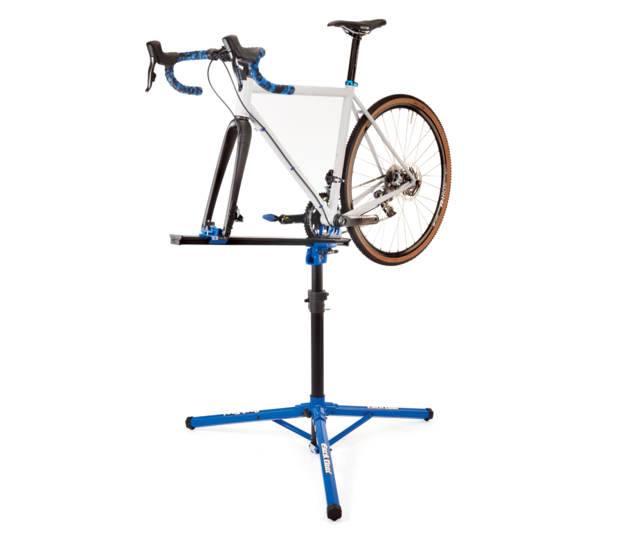 Park Tool PRS-22.2 Team Issue Repair Stand with bike mounted, enlarged