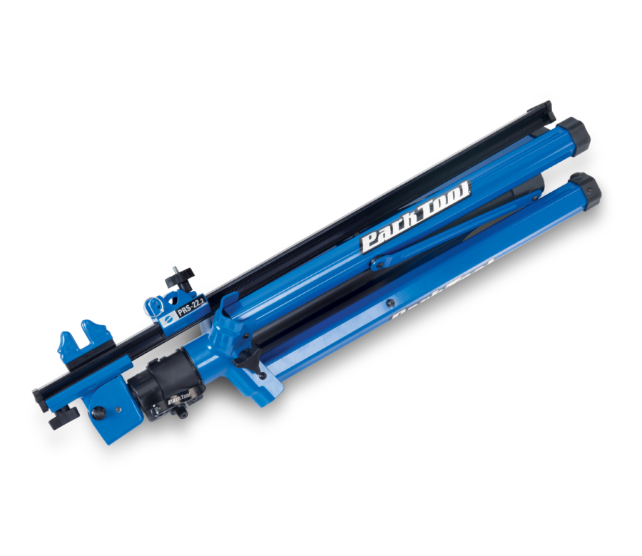 Park Tool PRS-22.2 Team Issue Repair Stand folded down for storage and travel, enlarged